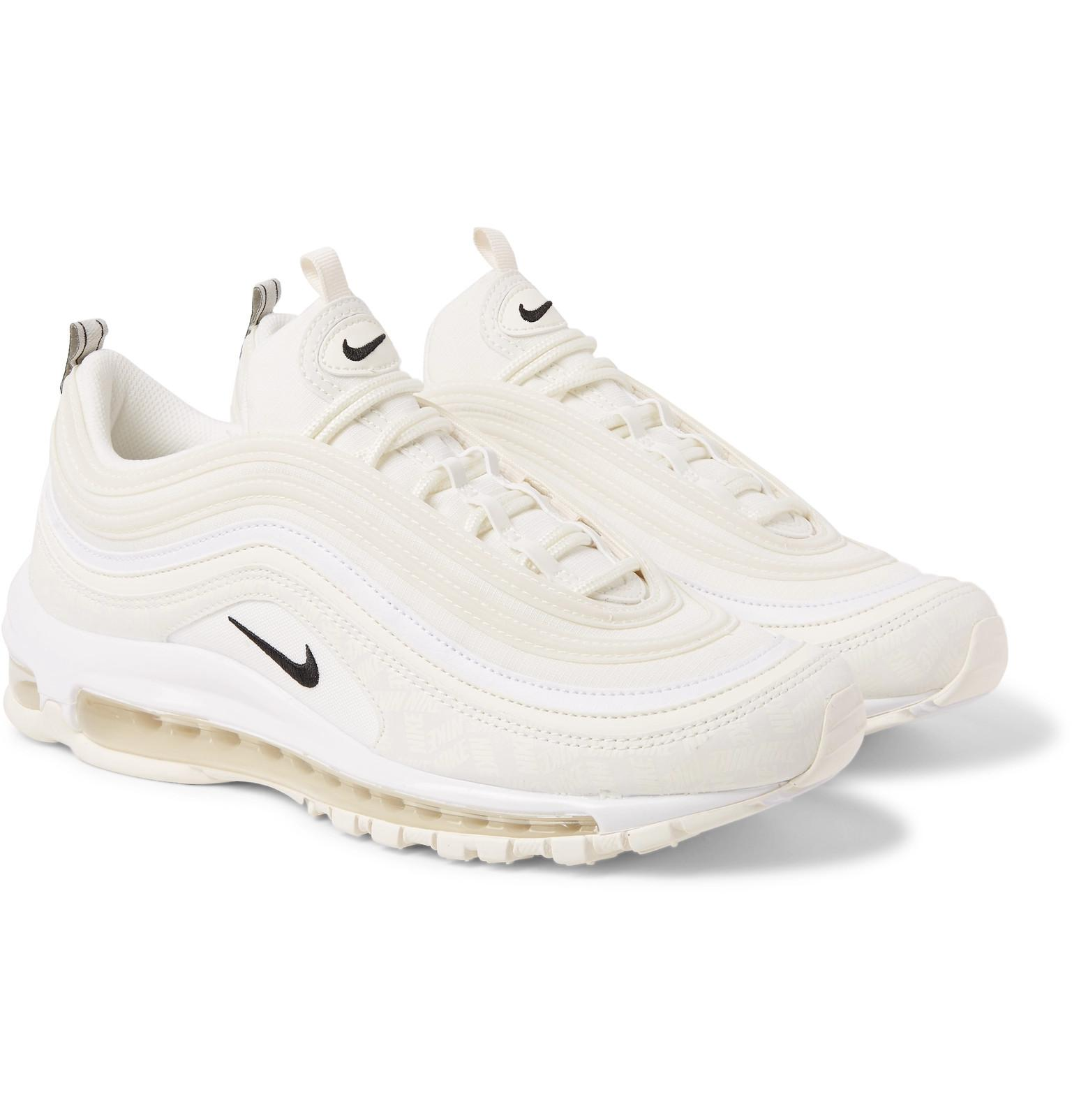 Men's White Air Max 97 Future Tech Leather trimmed Ripstop Sneakers