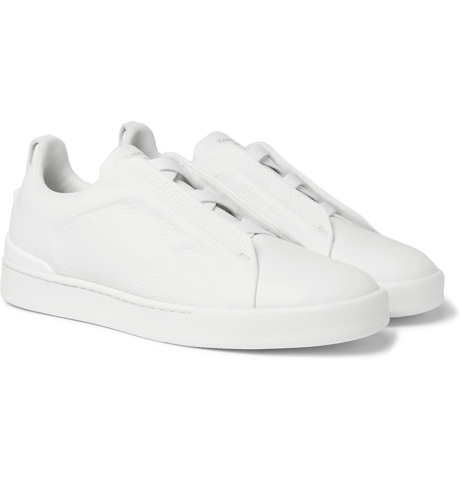 bf839ecd Ermenegildo Zegna White Triple Stitch Full-grain Leather Slip-on Sneakers  for men