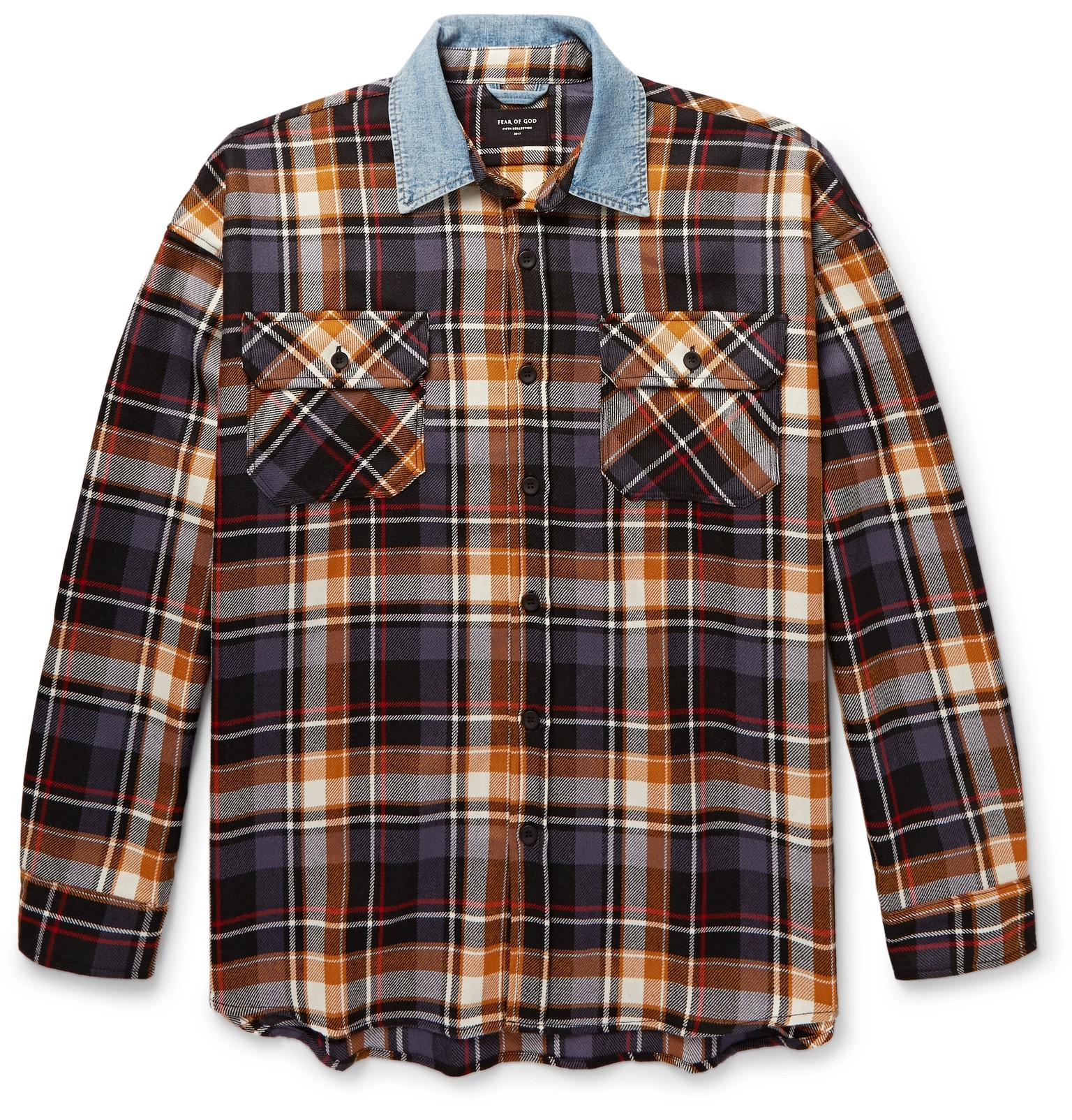 26e0016448 Fear Of God Oversized Denim-trimmed Checked Wool Overshirt in Blue ...
