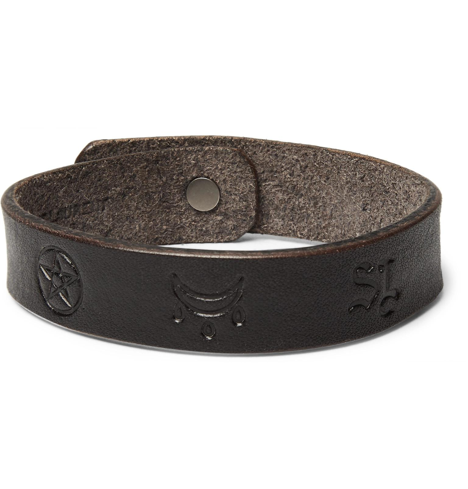 43b9a1a129c Saint Laurent Embossed Leather Bracelet in Brown for Men - Lyst