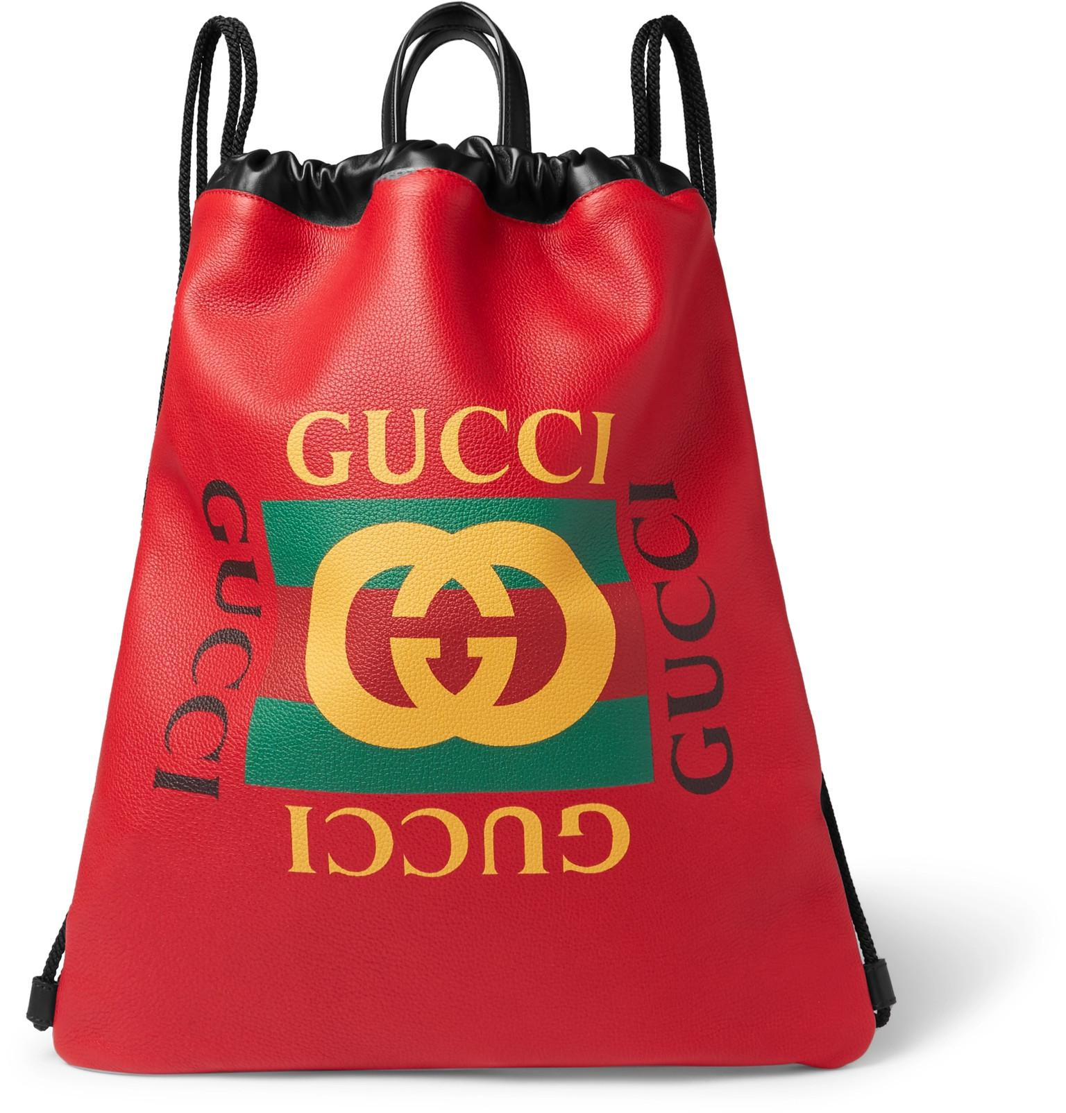 6a712b5a9ca8 Gucci - Red Printed Leather Drawstring Backpack for Men - Lyst. View  fullscreen