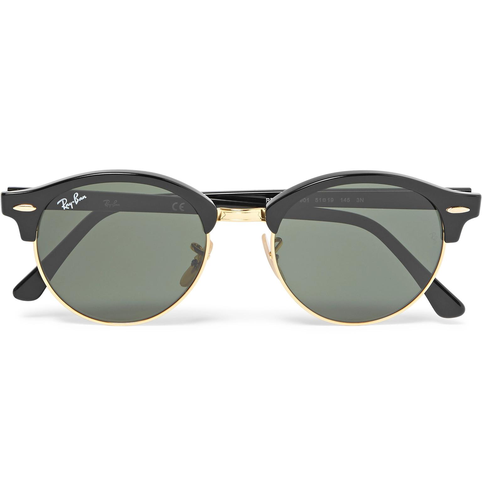 Ray-Ban Clubmaster Round-frame Acetate And Gold-tone Polarised ...