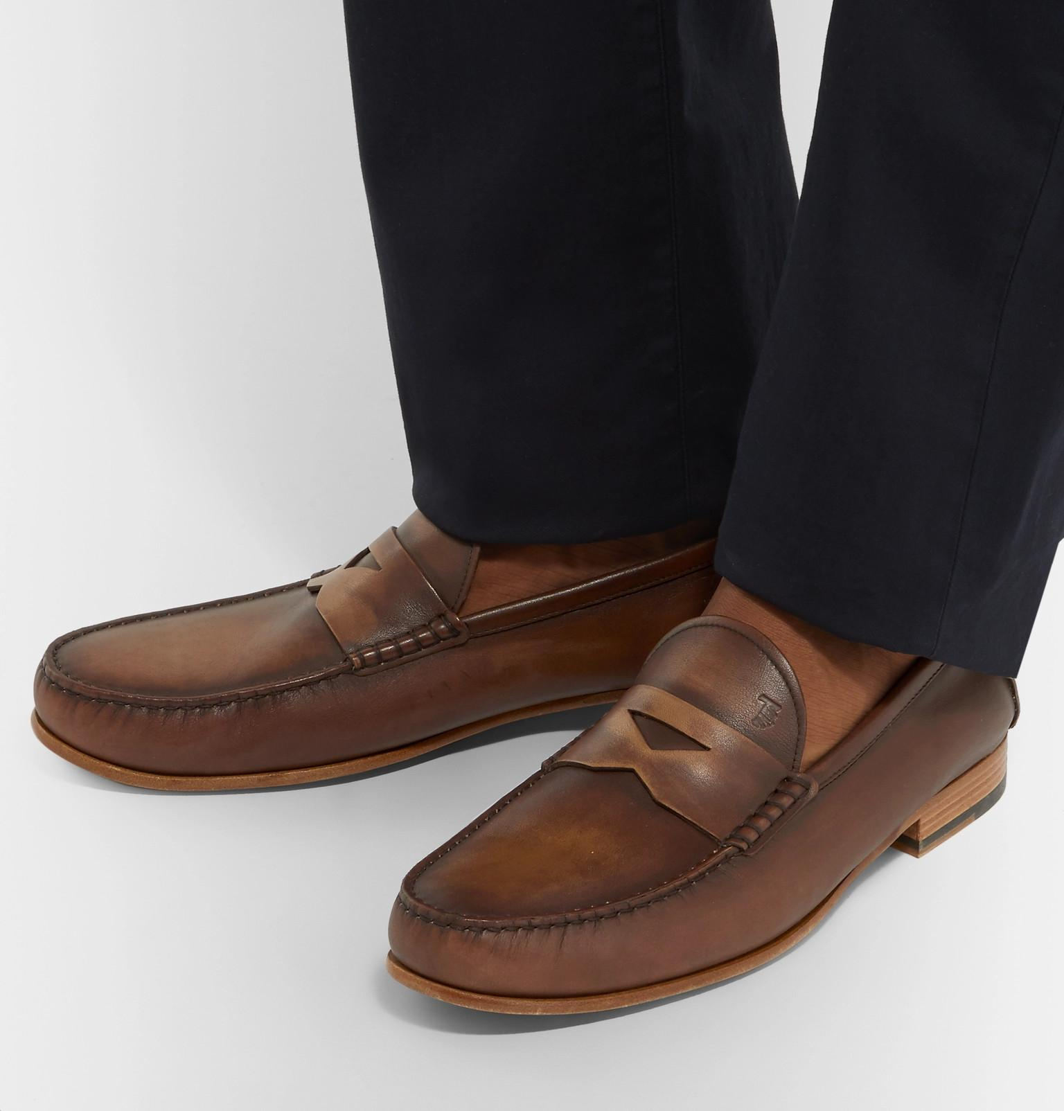 c41886f8e360 Lyst - Tod s Burnished-leather Penny Loafers in Brown for Men
