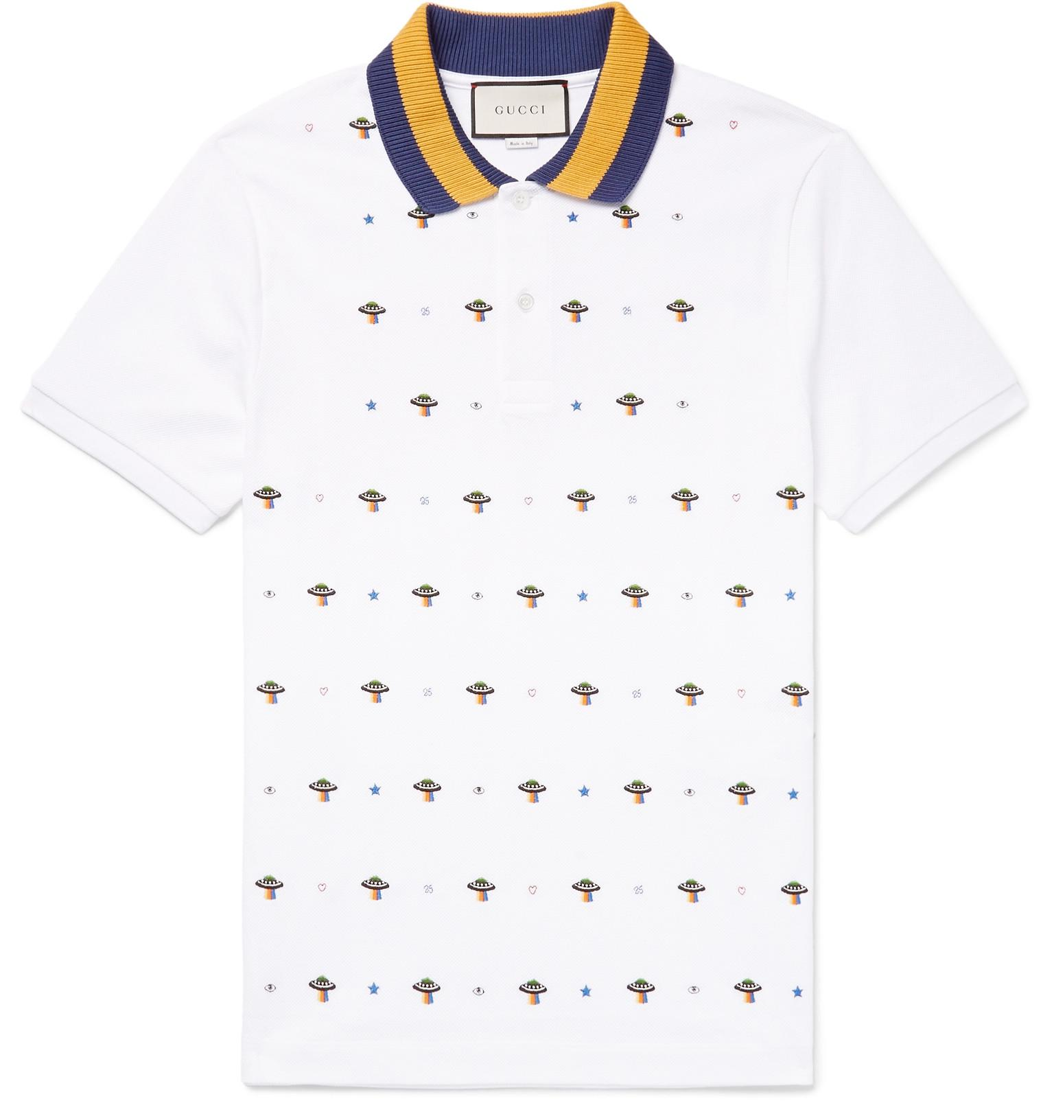 4d88173c61ef Gucci Slim-fit Ufo-embroidered Stretch-cotton Piqué Polo Shirt in ...