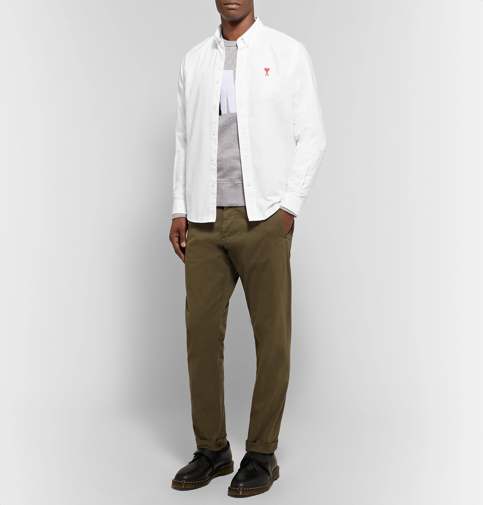 5e15b41d852 AMI - White Slim-fit Button-down Collar Logo-embroidered Cotton Oxford Shirt.  View fullscreen
