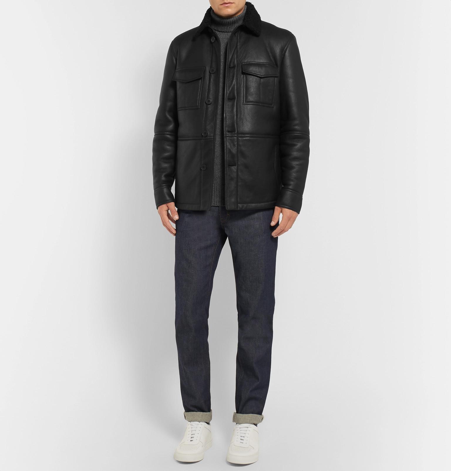 Tomas Maier Denim Shearling Jacket in Black for Men