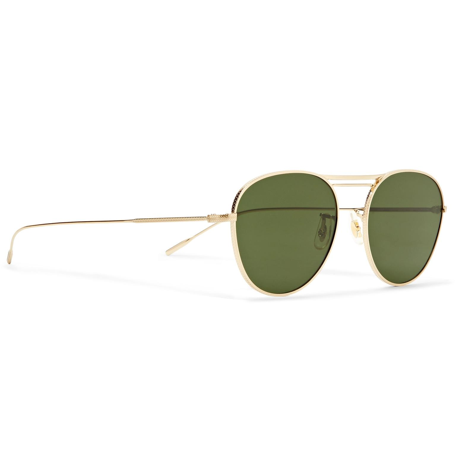 Oliver Peoples Cade Aviator-style Gold-tone Sunglasses in Metallic for Men