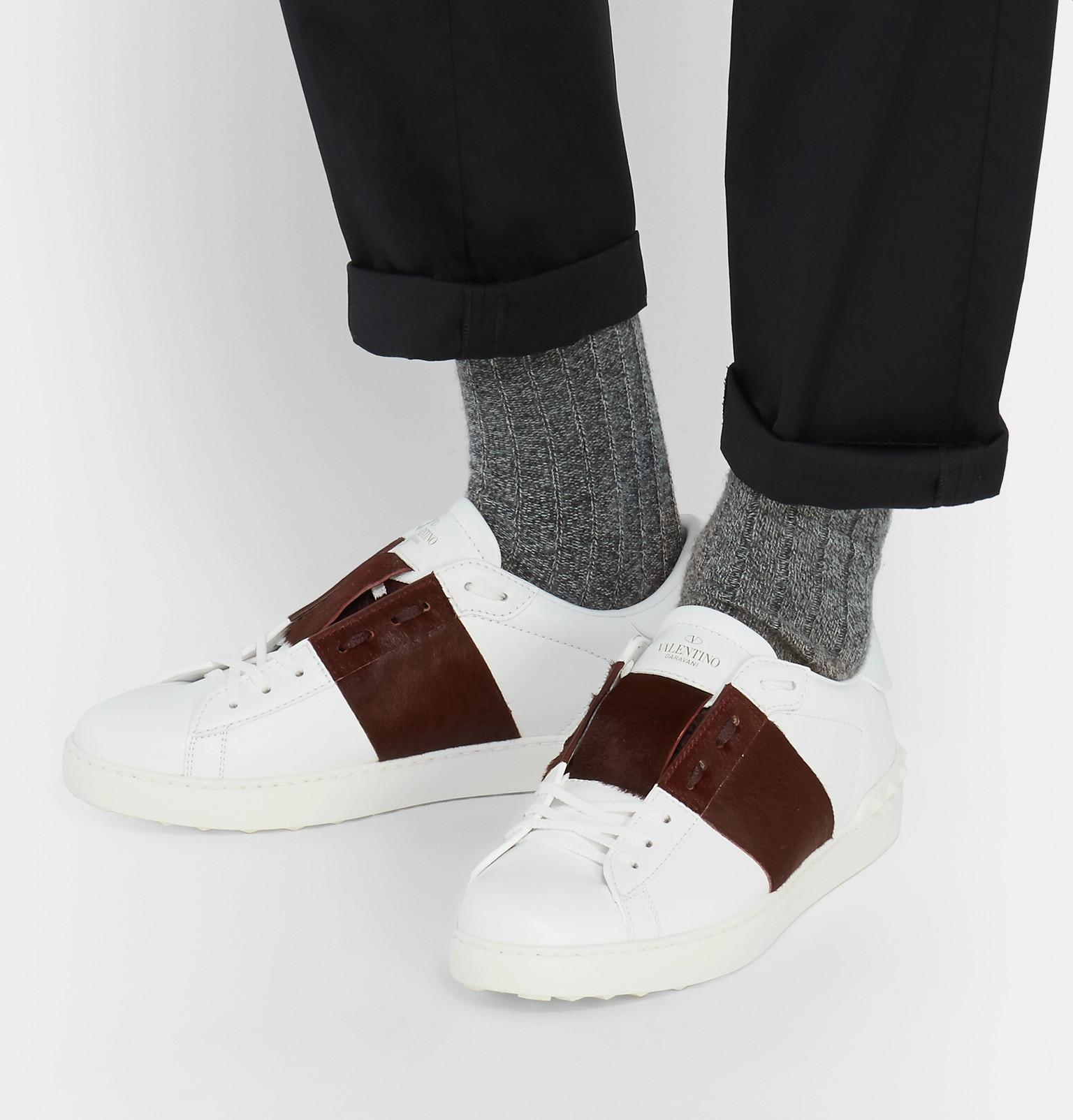 Striped Leather And Calf Hair Sneakers