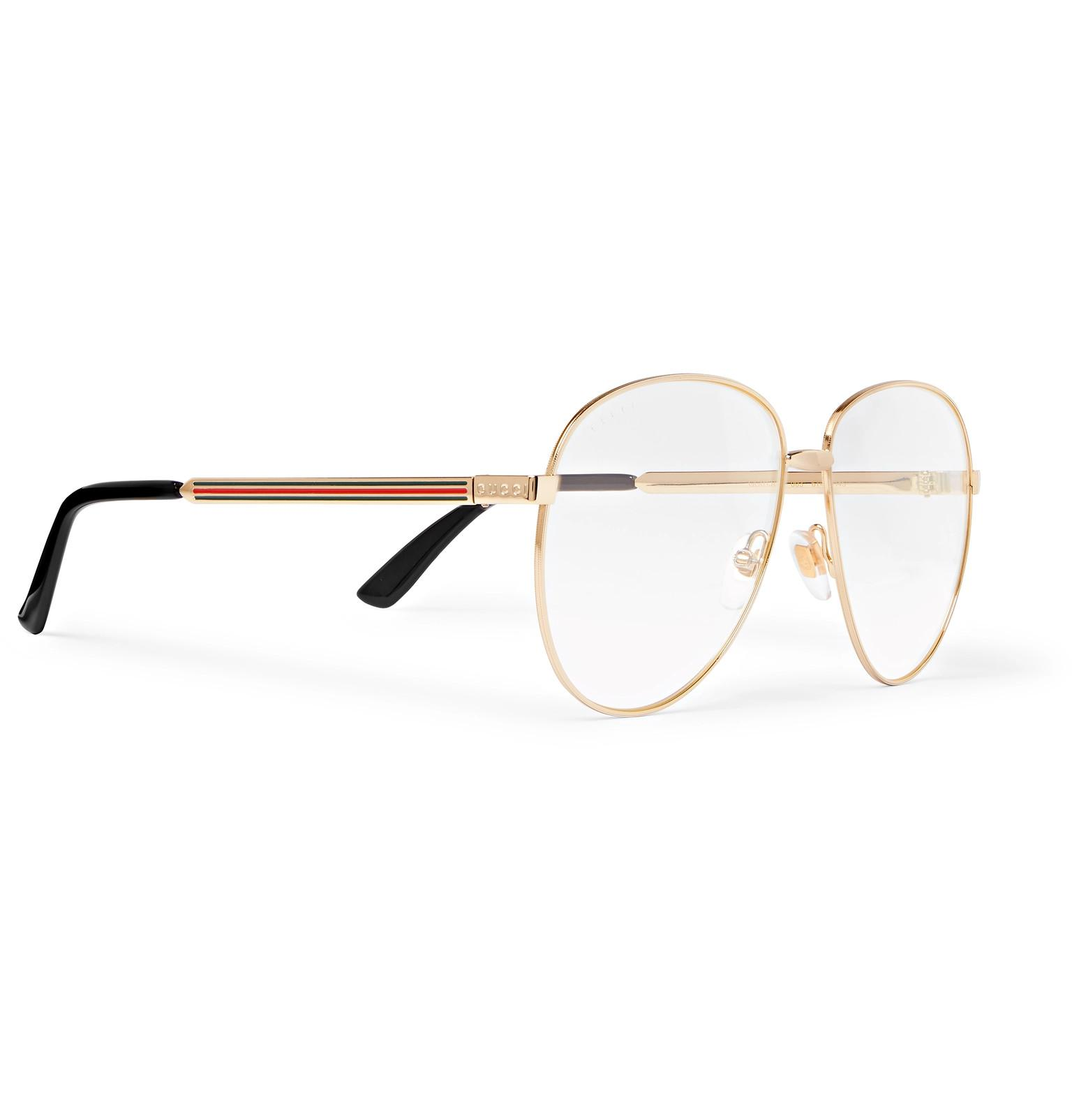 3229186fc9f1 Gucci - Metallic Aviator-style Gold-tone Optical Glasses for Men - Lyst.  View fullscreen