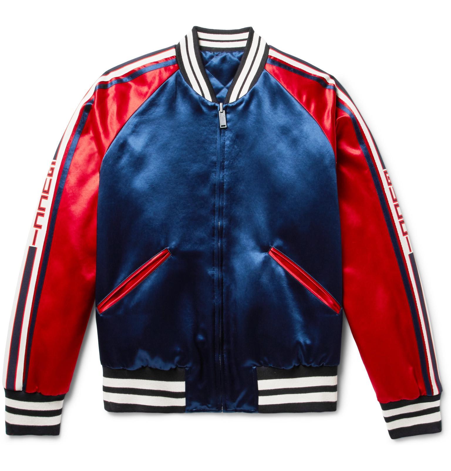 Gucci Stripe Reversible Acetate Bomber In Blue For Men