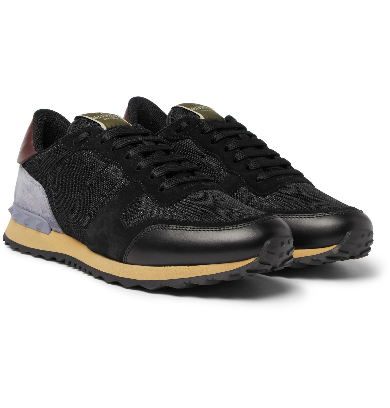 Garavani Rockrunner Mesh, Leather And Suede Sneakers Valentino
