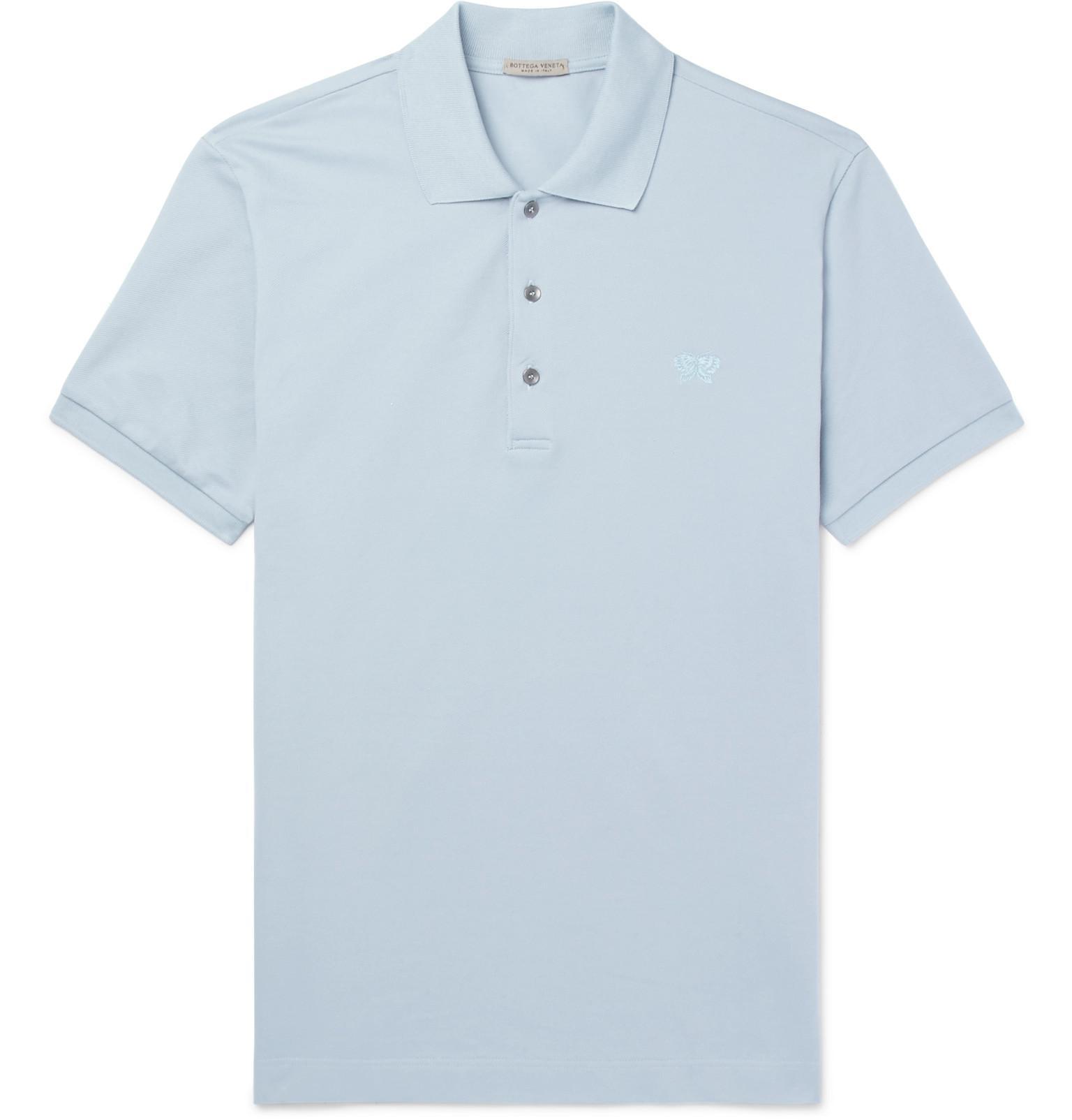 c3f70cdf8e Lyst - Bottega Veneta Cotton-piqué Polo Shirt in Blue for Men