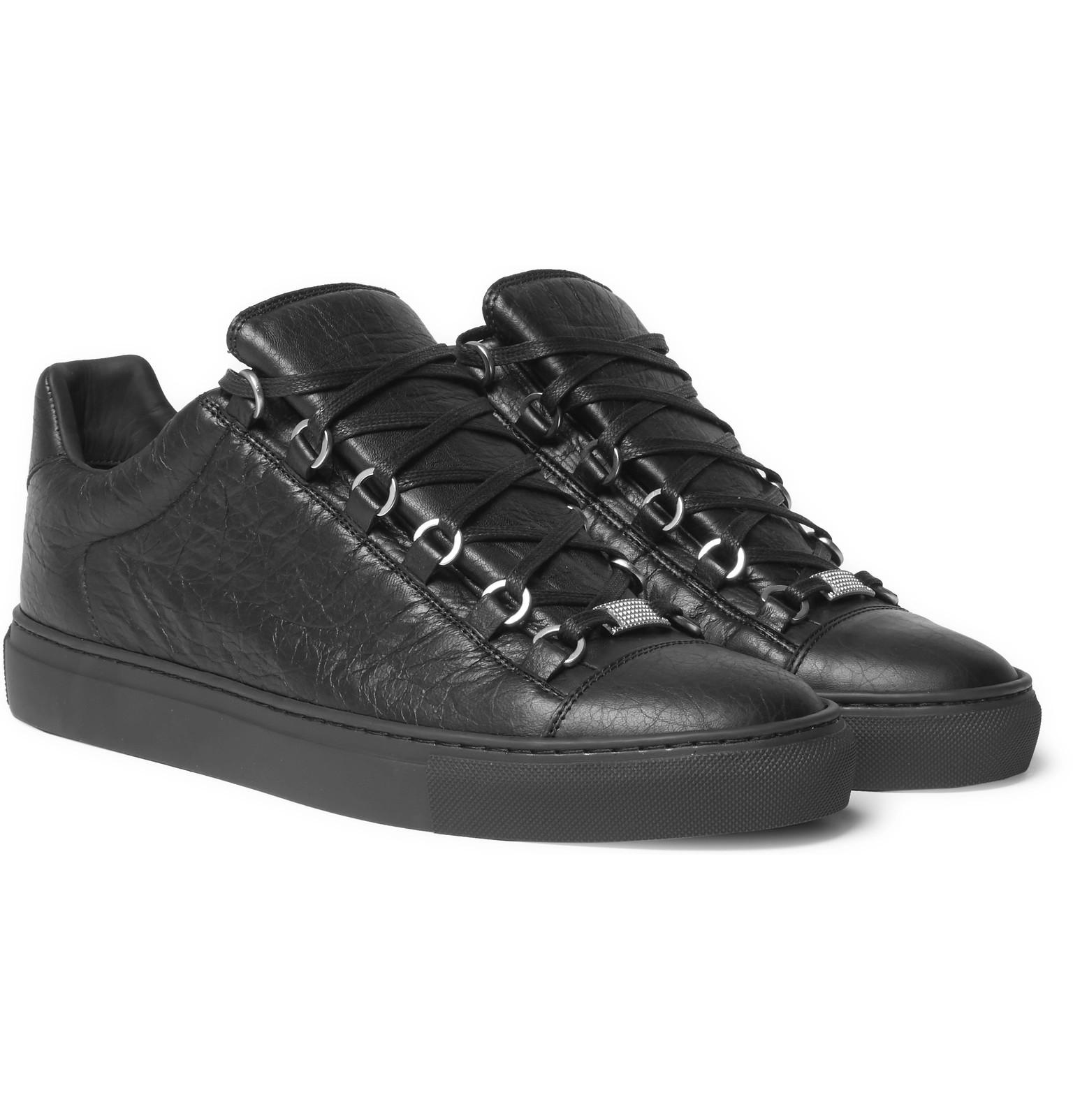Balenciaga Arena Creased-leather Sneakers in Black for Men - Lyst