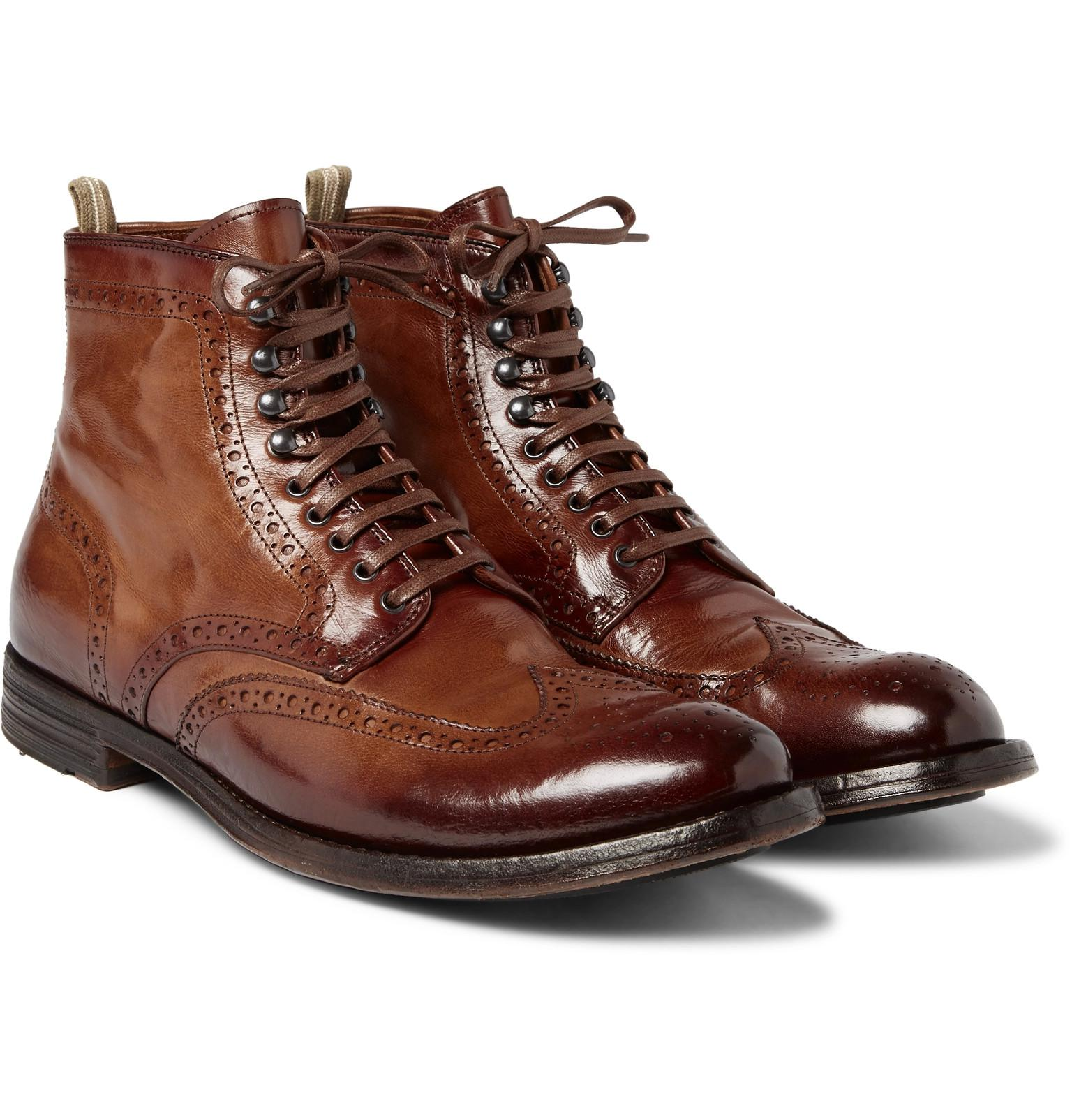 De Nombreux Types De Ligne Pas Cher Anatomia Burnished-leather Derby Boots - Dark brownOfficine Creative classique 7KupaOG
