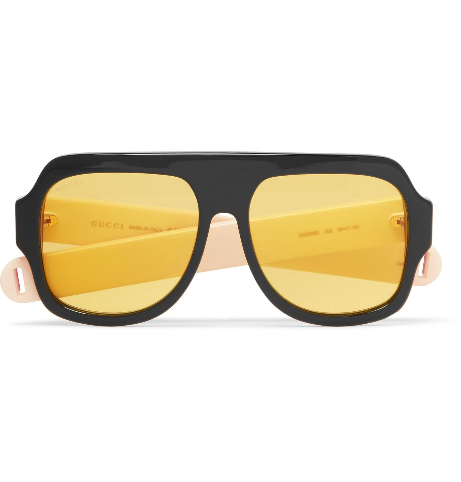 8d15c46c677 Gucci Oversized Square Frame Aviator Style Metal Sunglasses « One ...