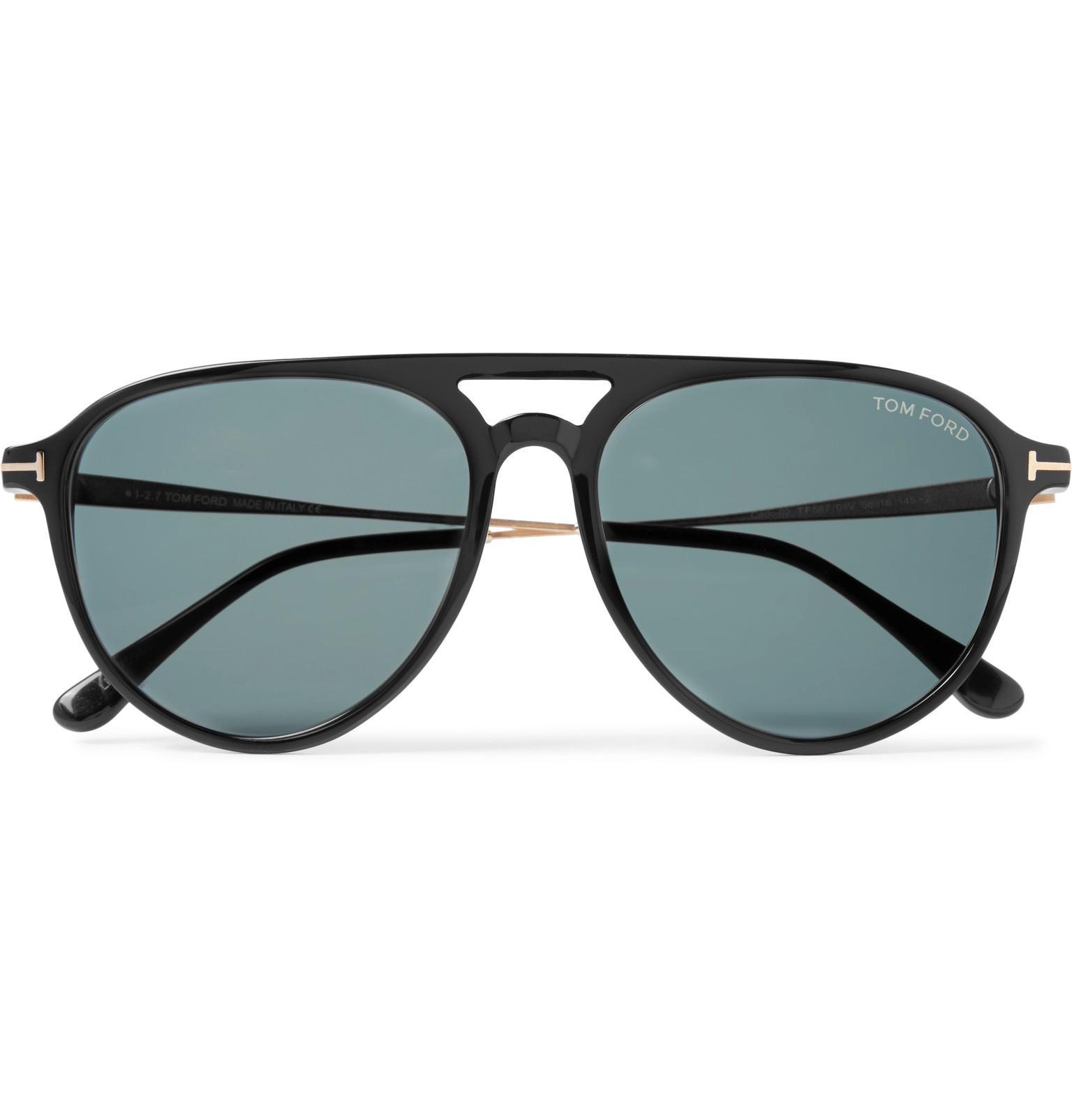 00f83e88f38d7 Tom Ford Carlo Aviator-style Acetate And Gold-tone Sunglasses in ...