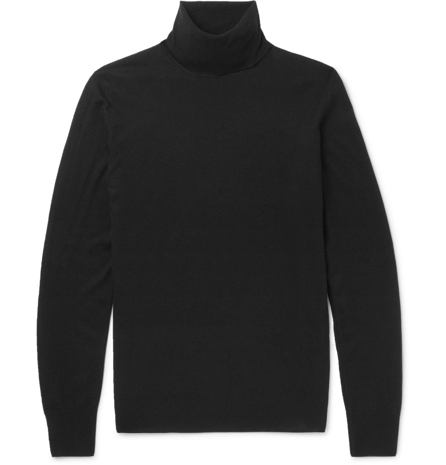 da8e78707 Lyst - Loro Piana Slim-fit Baby Cashmere Rollneck Sweater in Black ...
