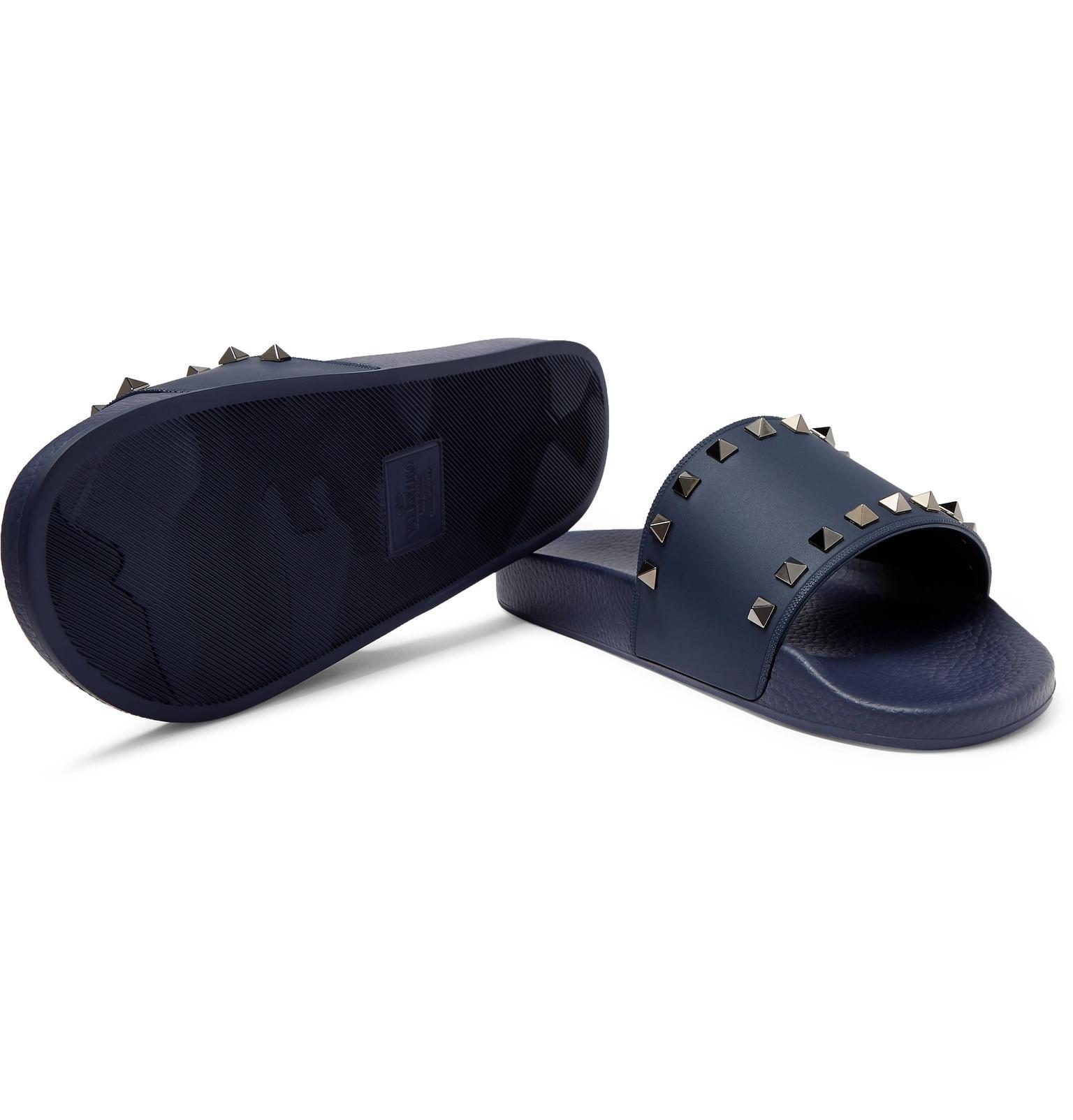 Valentino Garavani Valentino Garavani Rockstud Rubber Slides In Dark Blue Blue For Men Save 51 Lyst
