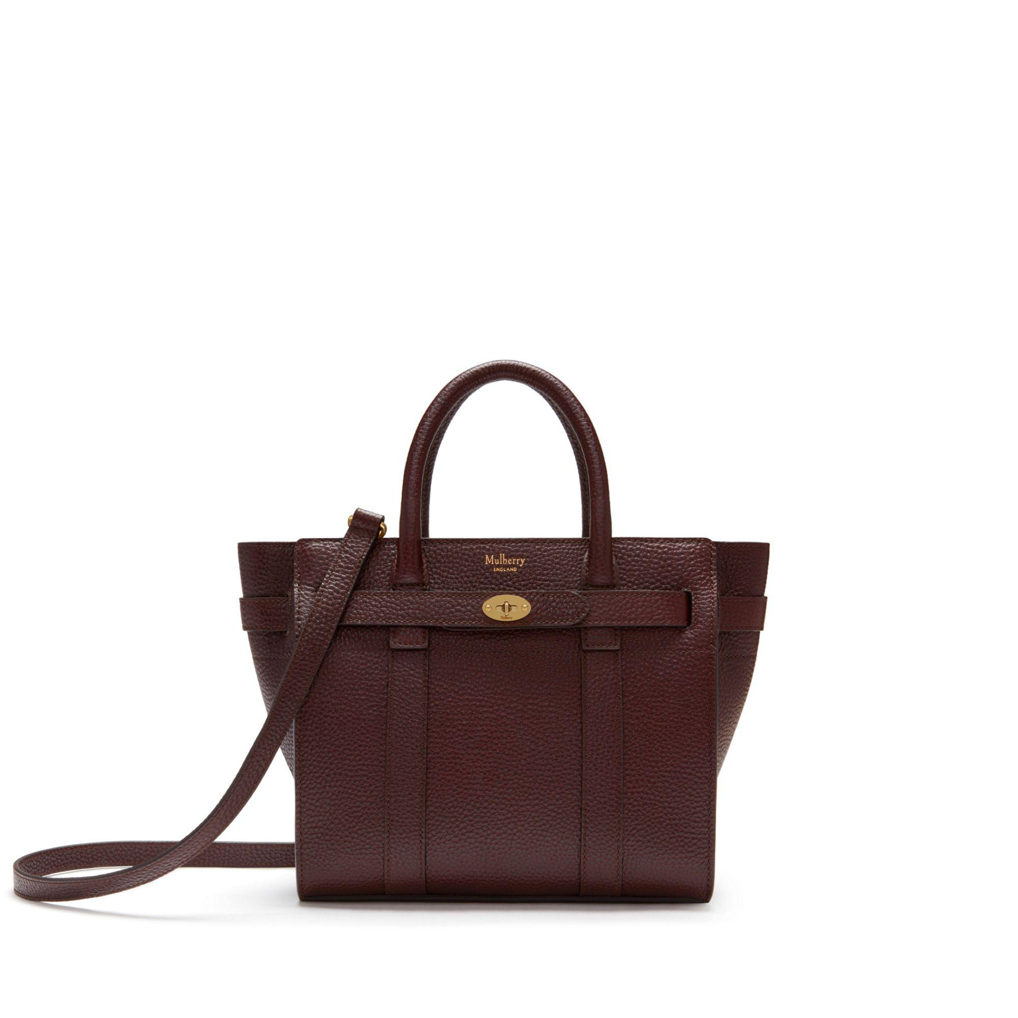 Mulberry. Women s Small Zipped Bayswater In Oxblood Natural Grain Leather 4ea643d902334