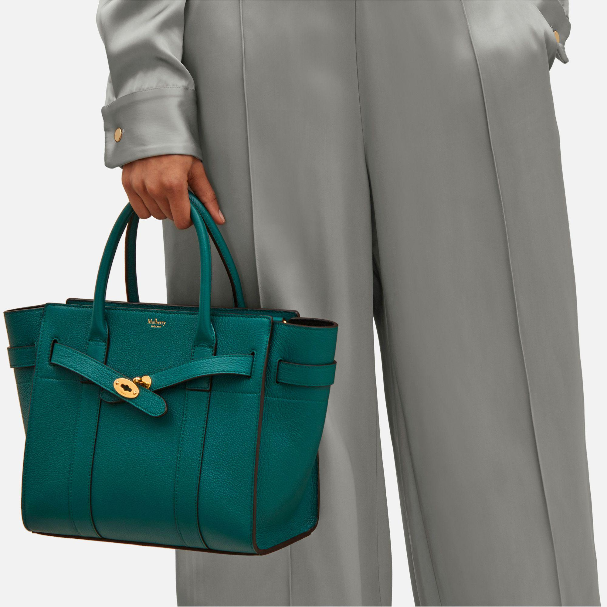 23cc3a9323b Mulberry Small Zipped Bayswater in Green - Lyst