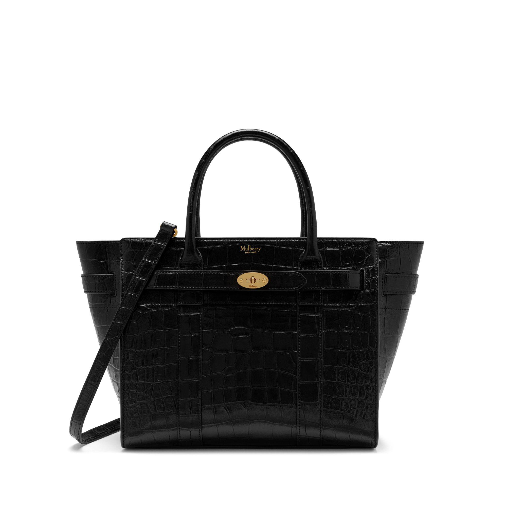 46e0ae9a8279 Mulberry - Small Zipped Bayswater In Black Croc-embossed Nappa - Lyst. View  fullscreen