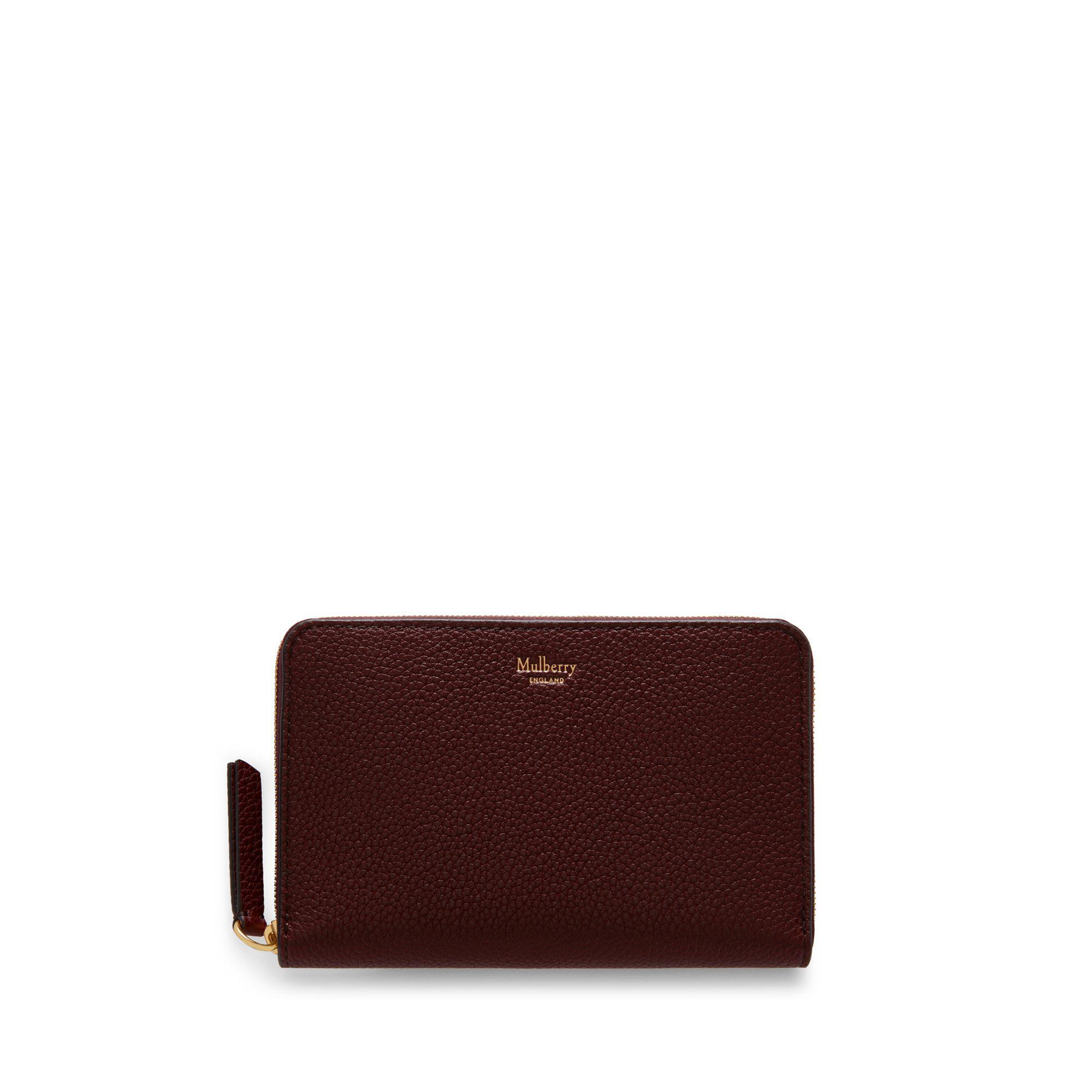946017e41 Mulberry. Women's Medium Zip Around Wallet In Burgundy Small Classic Grain