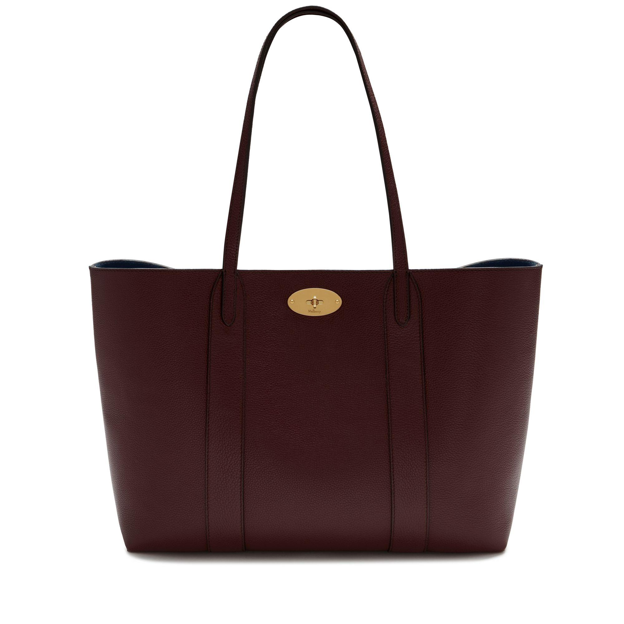Mulberry - Red Bayswater Tote In Burgundy Small Classic Grain - Lyst. View  fullscreen 58d7bc4250ef1