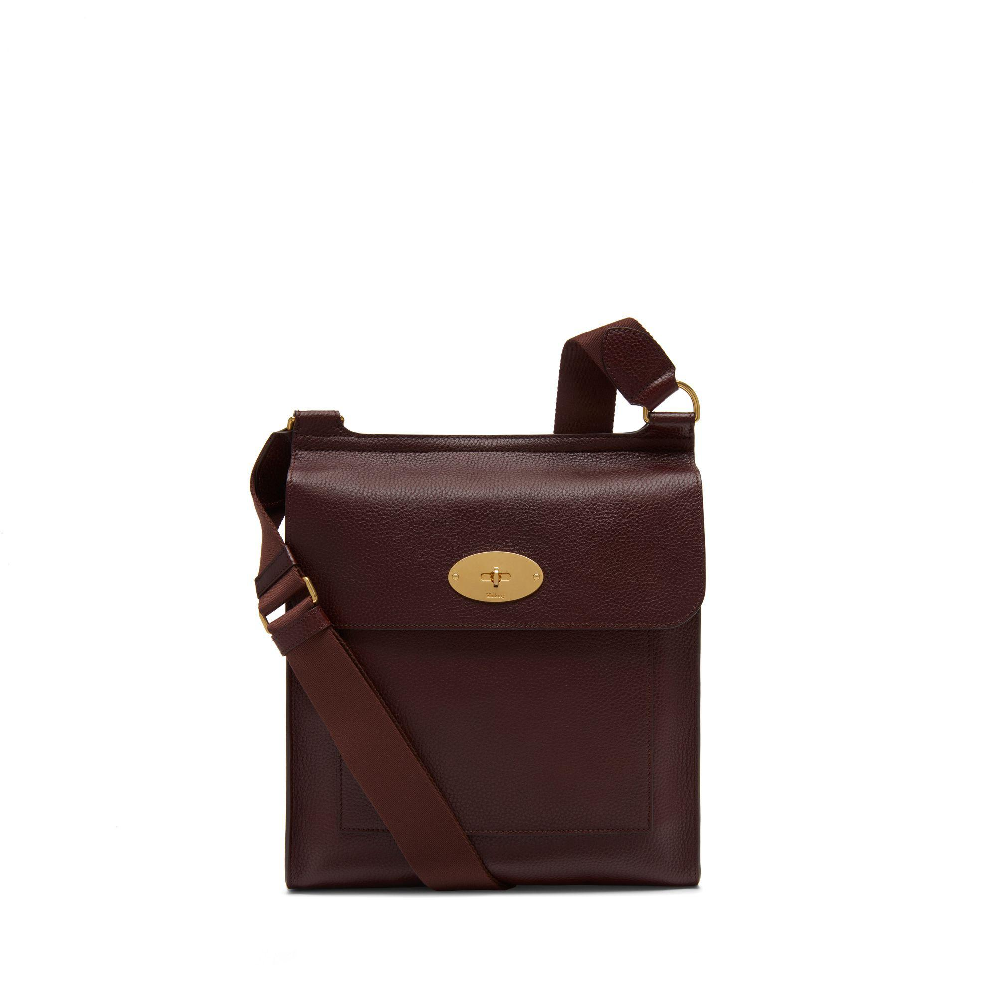 918a280011 Mulberry. Men s New Antony Messenger In Oxblood Natural Grain Leather