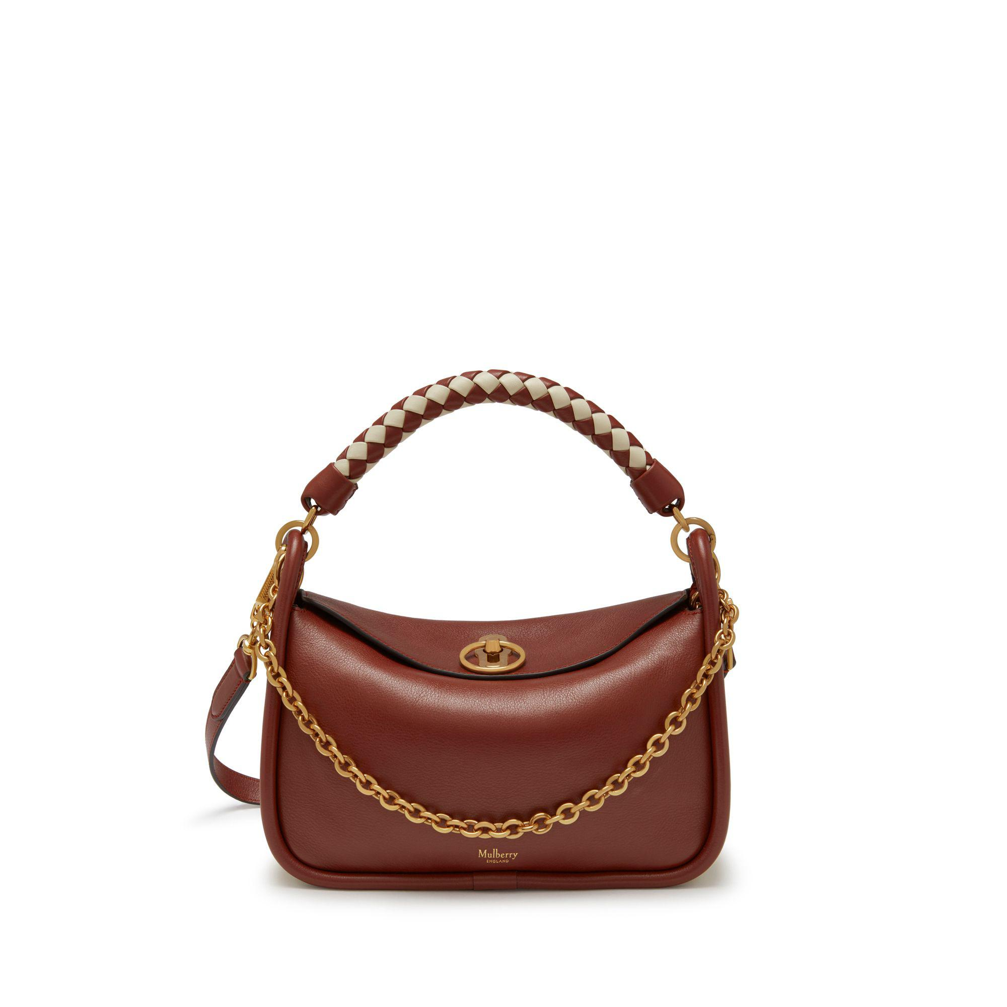 8fc7bb6e444f Mulberry - Small Leighton In Venetian Red Silky Calf With Braided Handle -  Lyst. View fullscreen