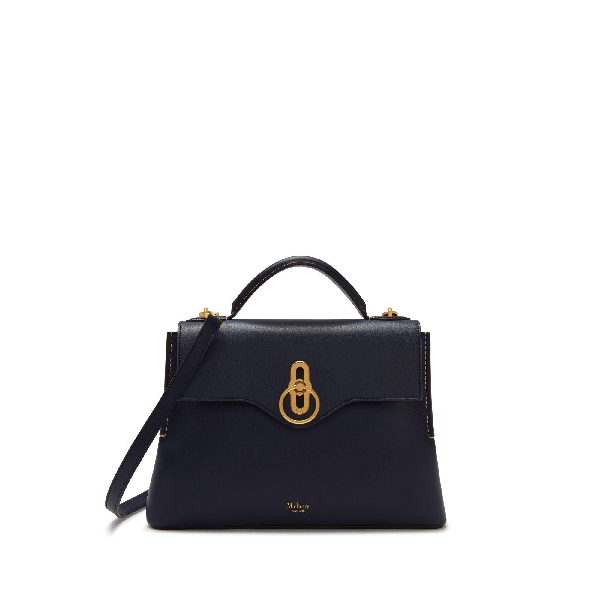 adf1b32cce4b Lyst - Mulberry Small Seaton In Midnight Silky Calf in Blue