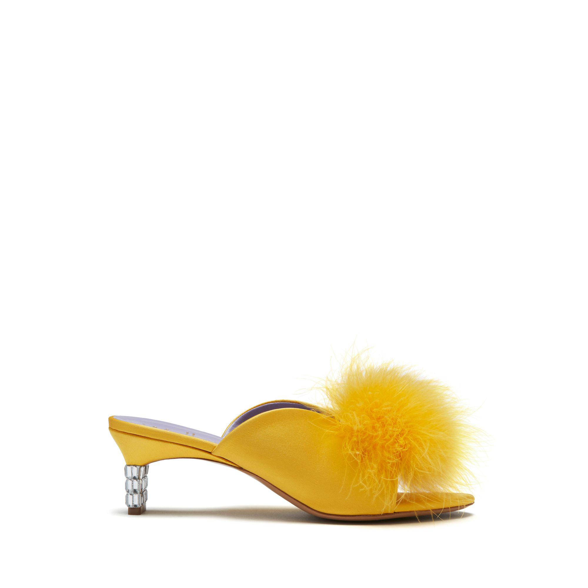 Mulberry Greta Mule And Feather Pompom In Deep Lemon Satin