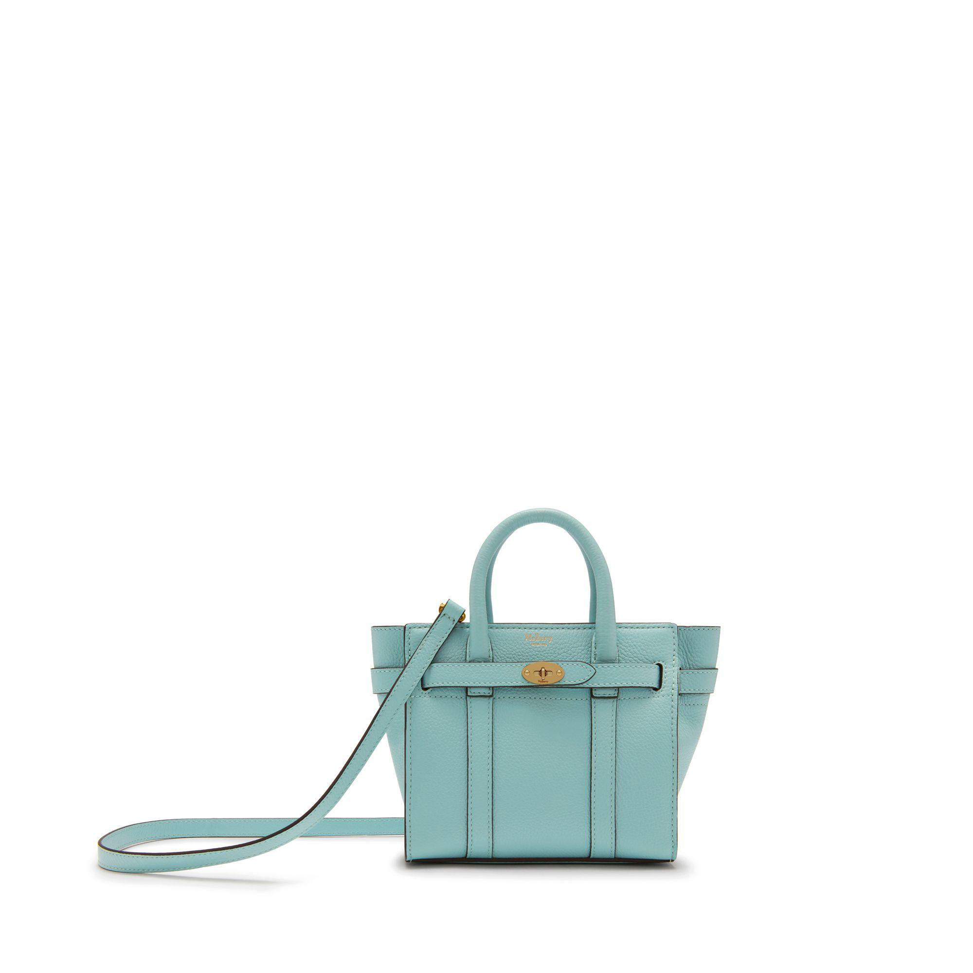 2d93fd283b Mulberry Micro Zipped Bayswater In Light Antique Blue Small Classic ...