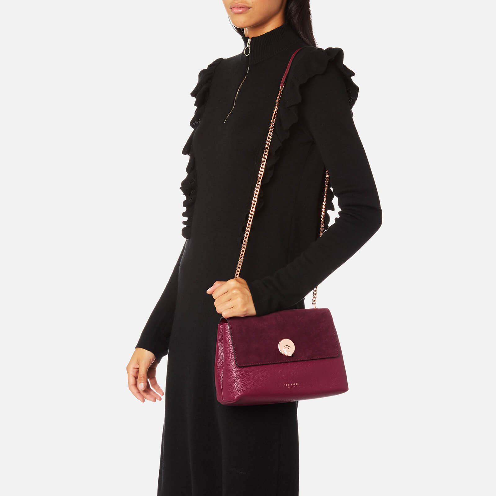 Ted Baker Leather Sorikai Circle Lock Cross Body Bag in Purple