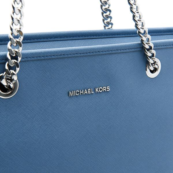 MICHAEL Michael Kors Leather Women's Jet Set Travel Chain Top Zip Tote Bag in Blue