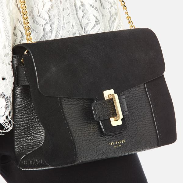 Ted Baker Leather Ameleia Metal Keeper Clasp Cross Body Bag in Black