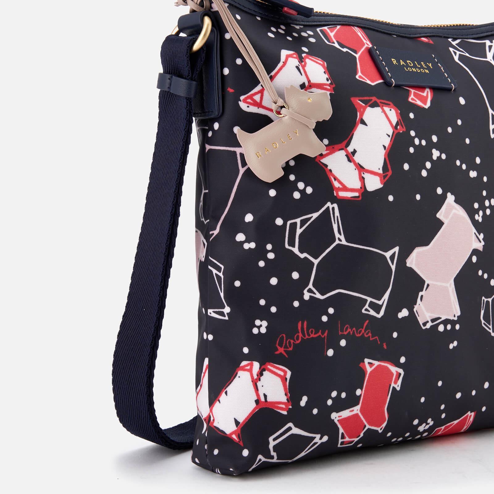 Radley Cotton Speckle Dog Medium Zip-top Cross Body Bag in Blue