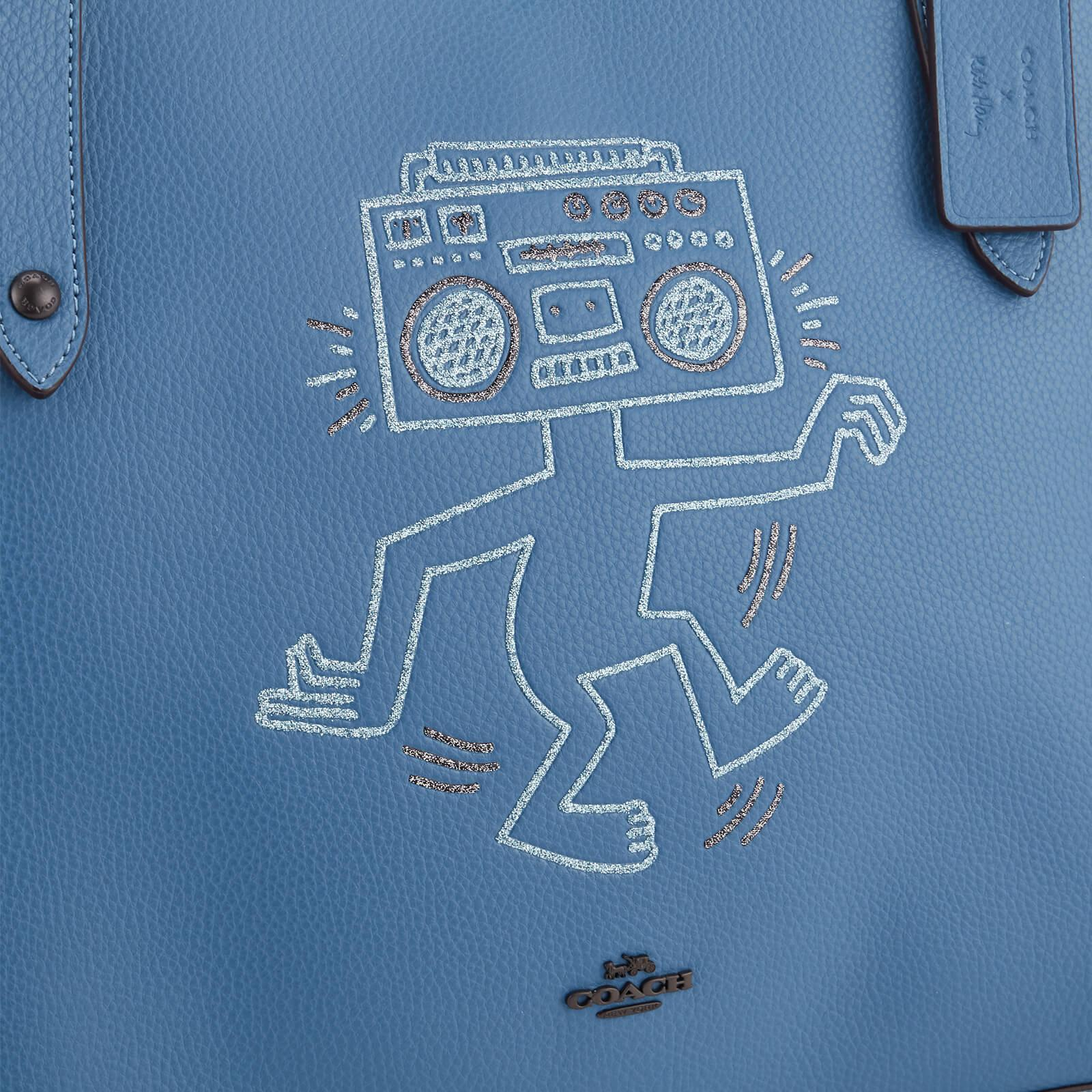 COACH Leather X Keith Haring Market Tote Bag in Blue