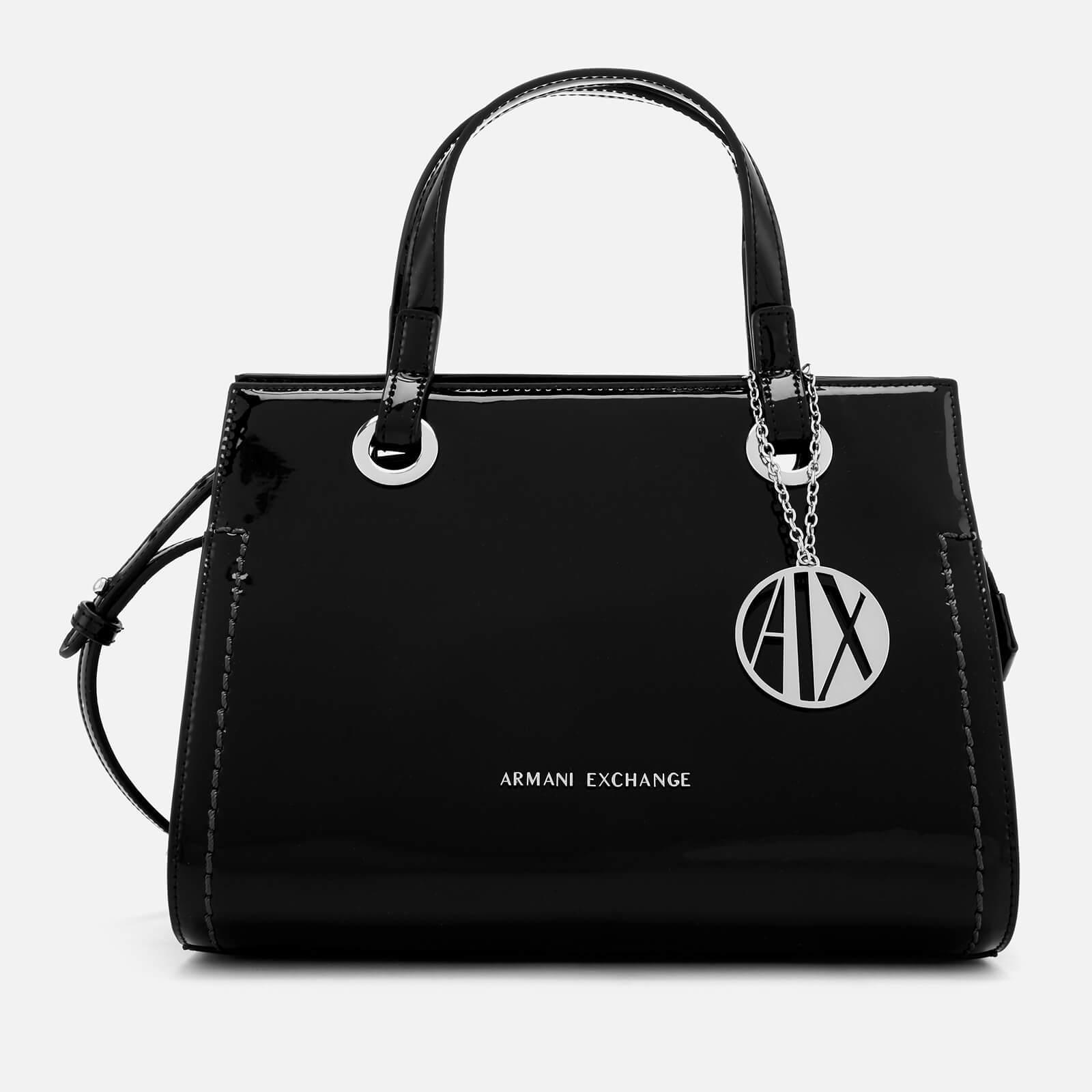 a8f5ea9b477 Armani Exchange - Black Patent Logo Small Tote Bag - Lyst. View fullscreen