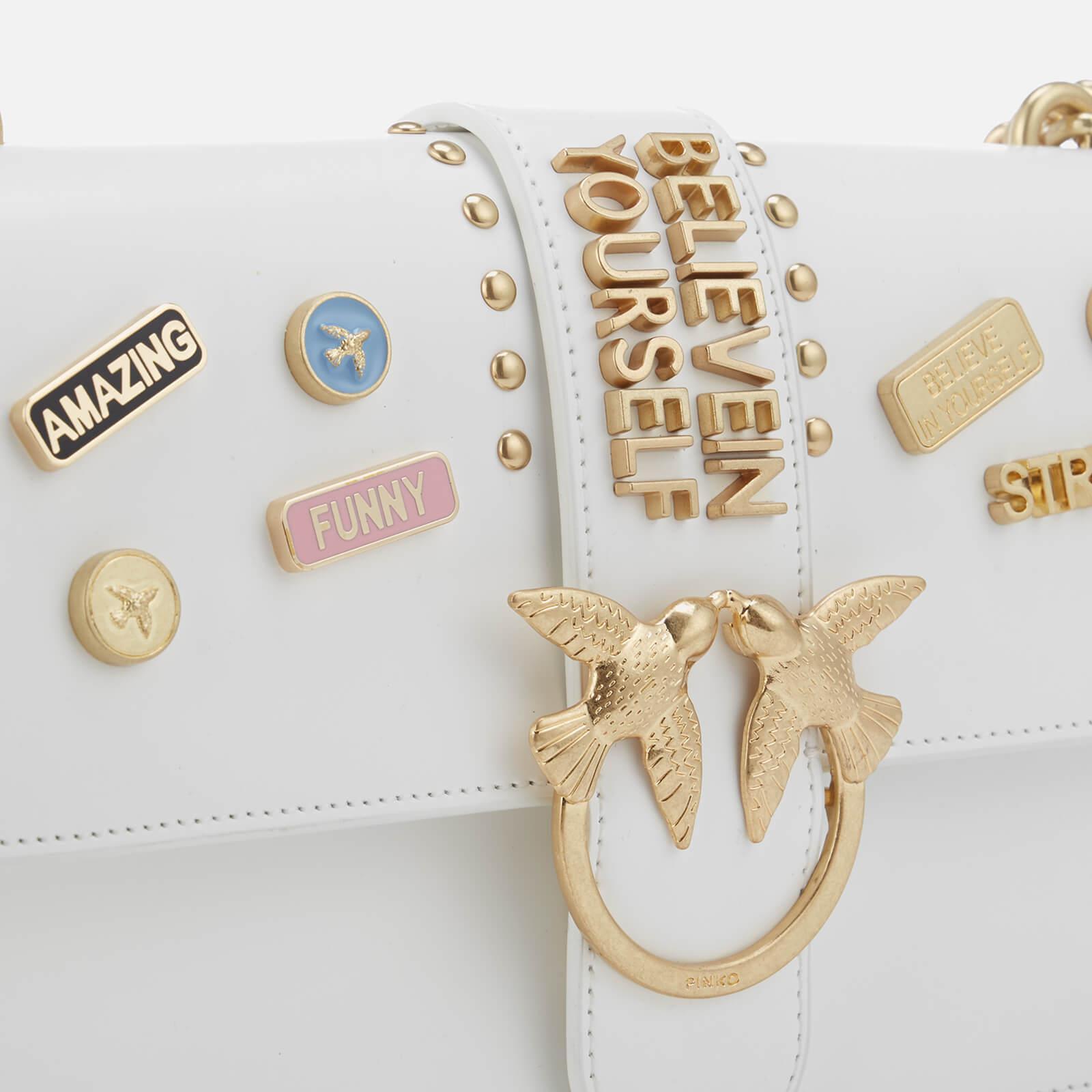 Pinko Leather Love Pins Cross Body Bag