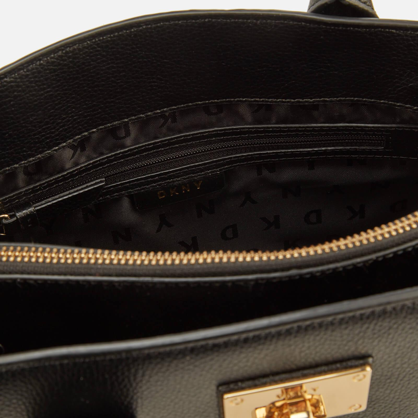 DKNY Black And Gold Grained Elissa Leather Tote Bag