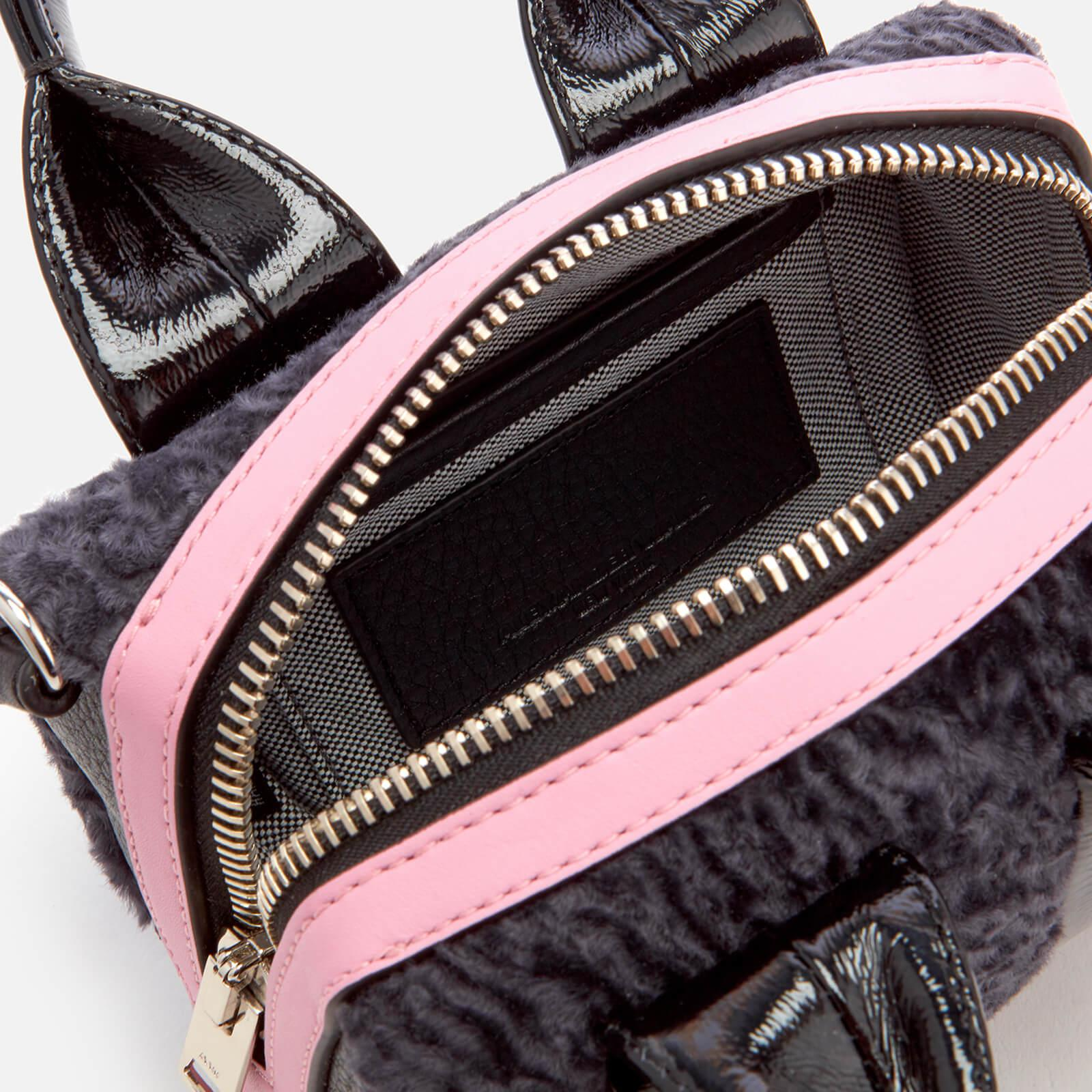Alexander Wang Leather Baby Rockie Patent And Shearling Tote Bag in Black