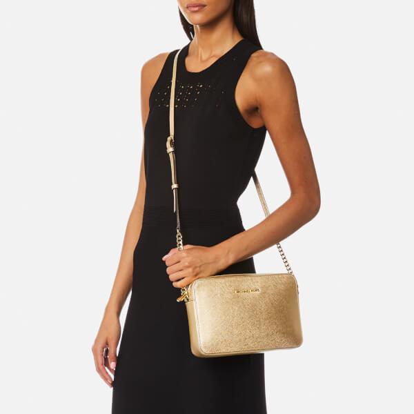 MICHAEL Michael Kors Leather Women's Jet Set Travel Medium East West Cross Body Bag in Natural