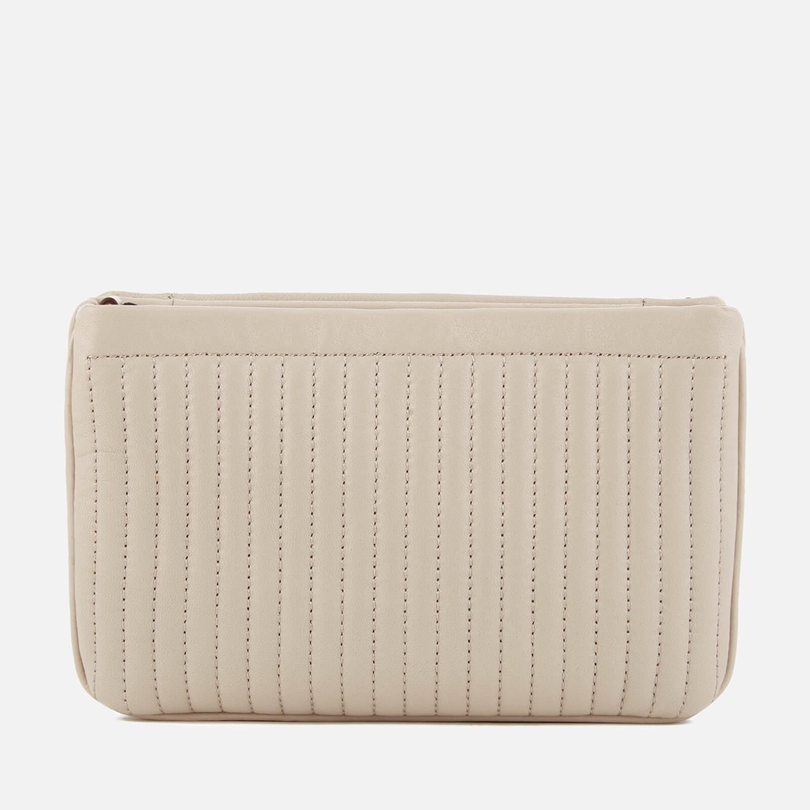 DKNY Leather Pinstripe Quilted Mini Double Compartment Cross Body Bag