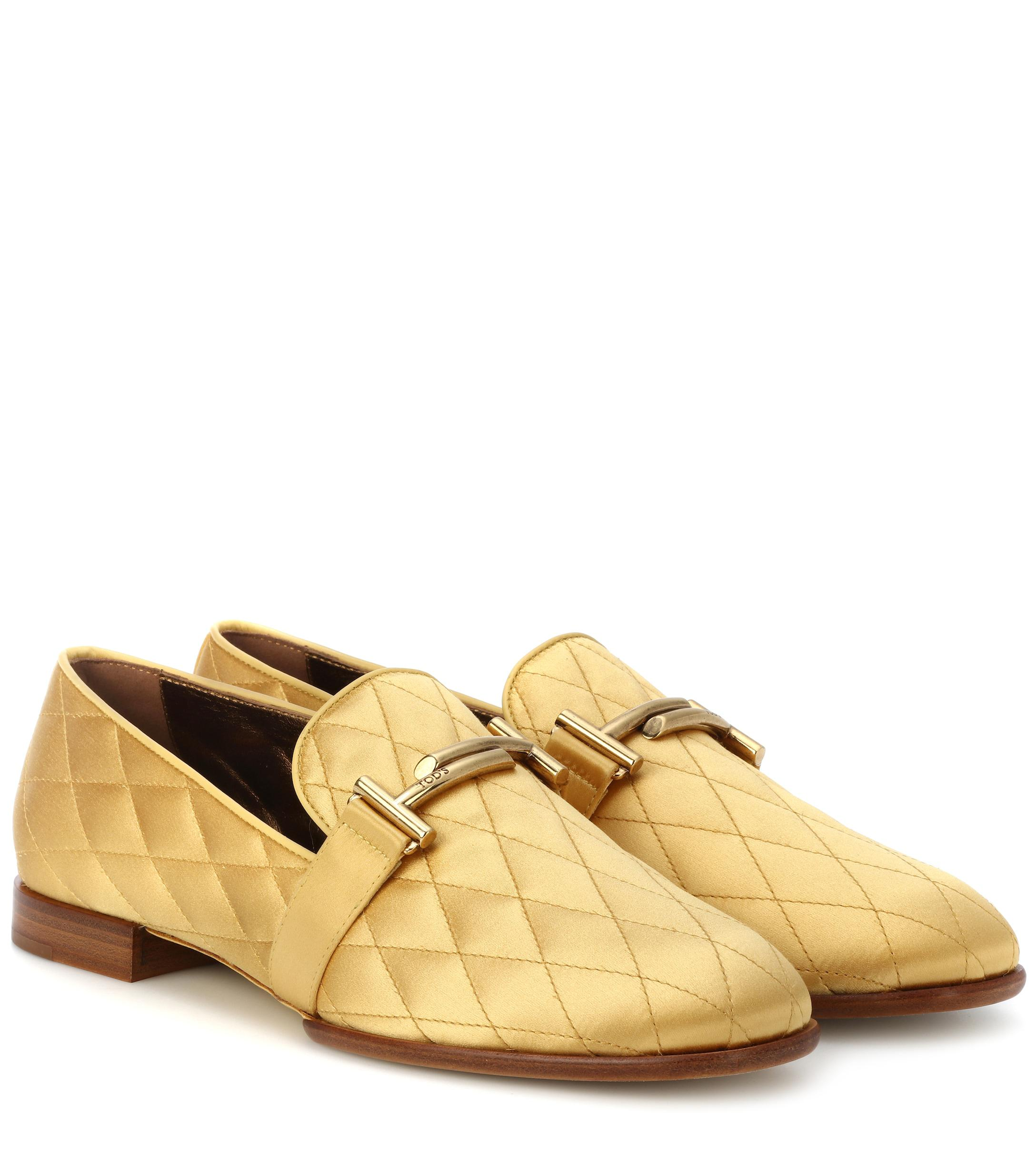 4d5b337db5b5 Tod S Double T Quilted Satin Loafers in Yellow - Lyst