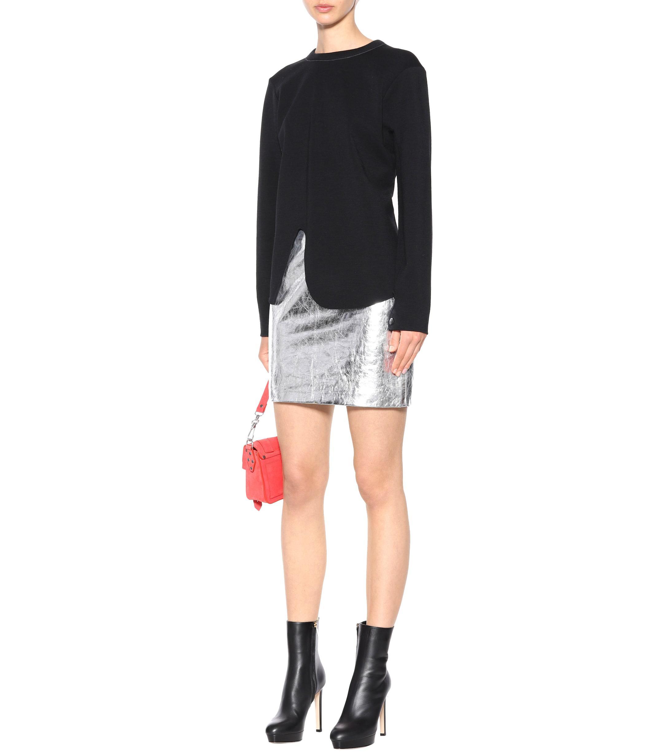 Sweat-shirt en laine et coton asymétrique Laines Proenza Schouler en coloris Noir