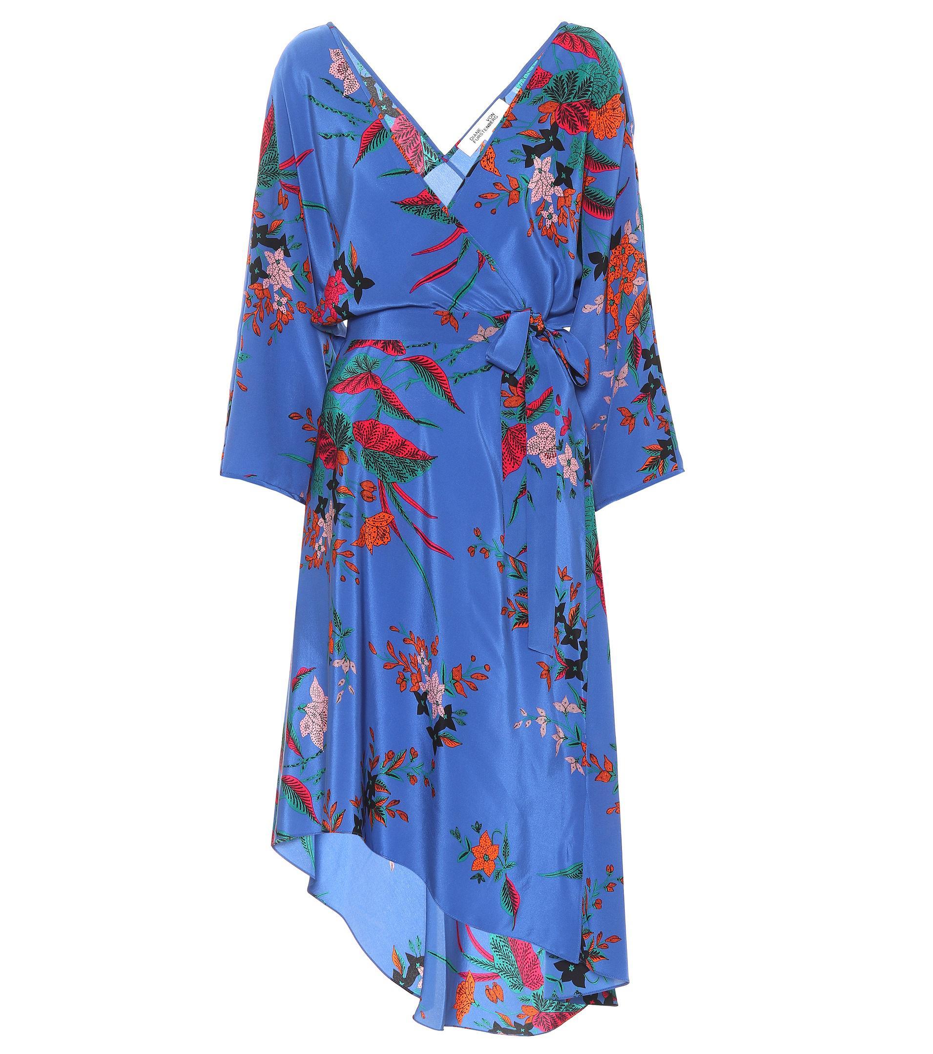 0cb1bcc35872a Diane von Furstenberg Eloise Floral-printed Silk Dress in Blue - Lyst