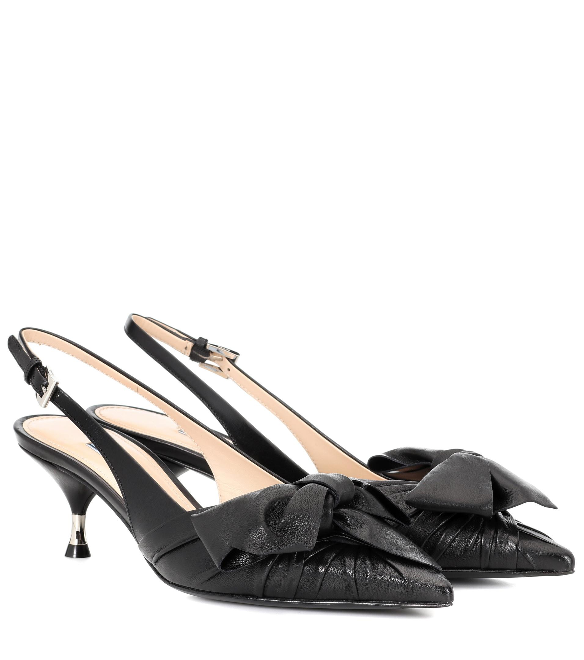 cc0d25df7 Prada - Black Leather Bow Slingback Pumps - Lyst. View fullscreen
