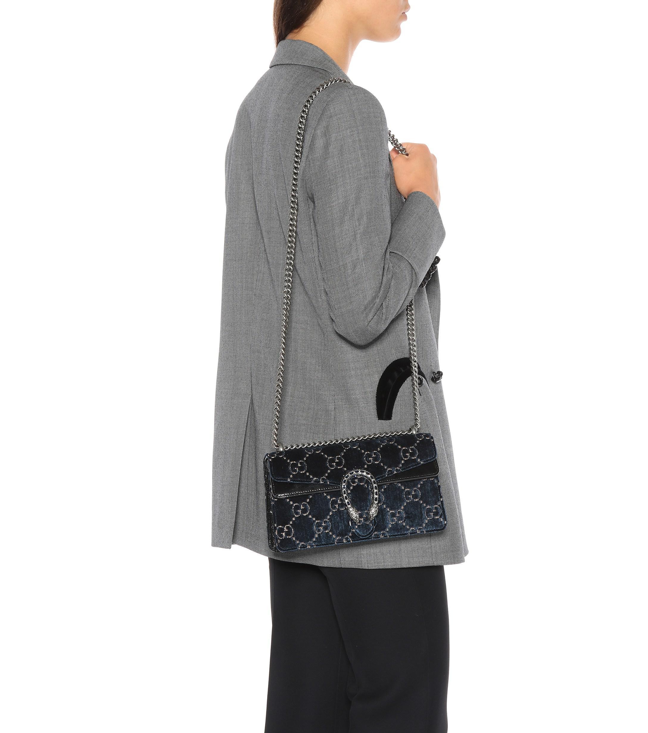aa14d8628 ... Gucci Blue Dionysus GG Small Velvet Shoulder Bag · Visit Mytheresa. Tap  to visit site