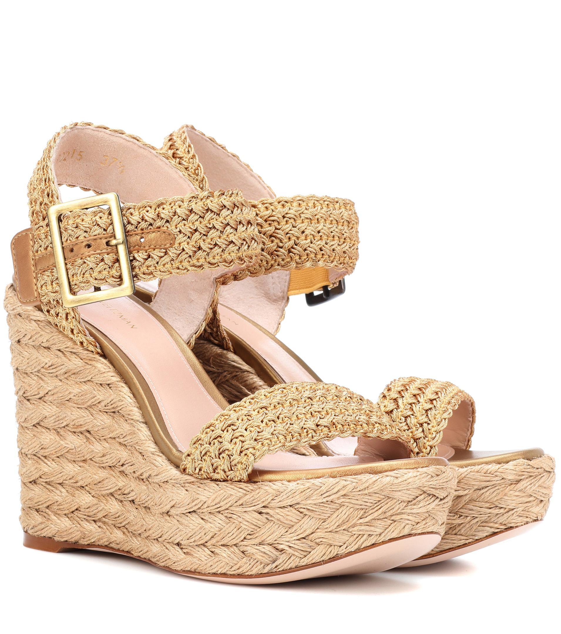 771b867ff2a Stuart Weitzman Alexis Bingo Wedge Sandals in Metallic - Lyst