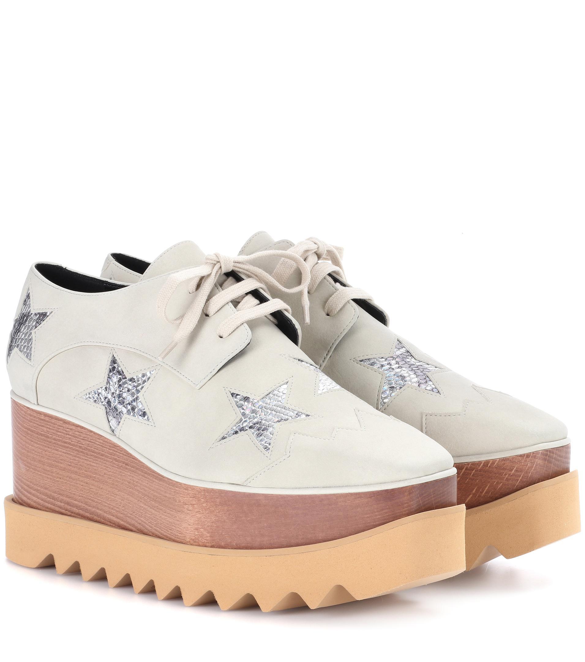 4c18f976ee51 Lyst - Stella McCartney Elyse Star Platform Derby Shoes in Natural